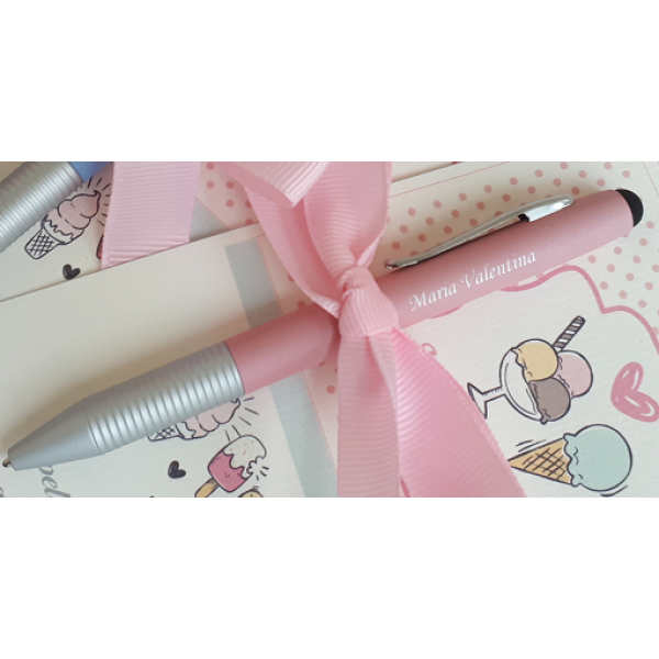 Caneta rosa Candy Colors de lembrancinha